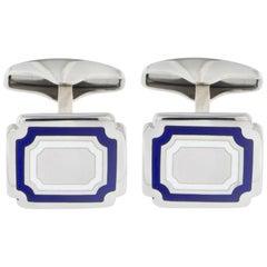Jona Sterling Silver Blue White Enamel Rectangular Cufflinks