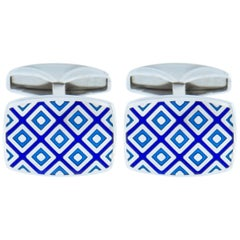 Jona Sterling Silver Blue Enamel Cufflinks