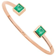 Certified 6.1 Carat Emeralds Rose Gold Bangle Bracelet