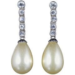 Antique Art Deco Long Silver Paste Pearl Earrings