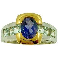 Iolite Aquamarine Gold Ring