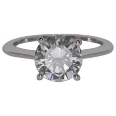 Solitaire Certified Diamond 2.28 Carat Four Claws White Gold Engagement Ring