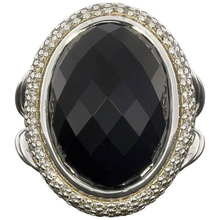 David Yurman Black Onyx and Diamond Signature Oval Ring