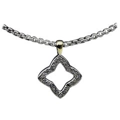 David Yurman Pave Diamond Sterling Silver Quatrefoil Pendant