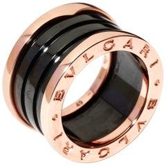 Bulgari Bvlgari B.Zero1 Ladies' Ring 18 Karat Rose Gold and Black Ceramic