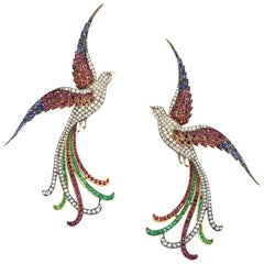 Pair of 19th Century Oversized Gemset Birds of Paradise Brooches