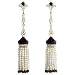 Art Deco Onyx, Diamond, and Seed Pearl Tassel Earrings