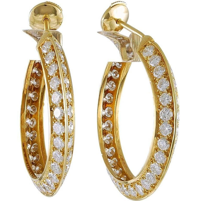 Cartier Inside Out Diamond Hoop Earrings For Sale