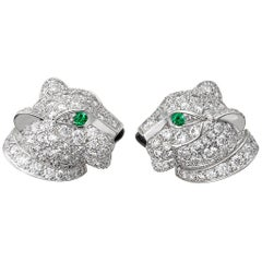 Cartier Diamond and Emerald Panther Earrings