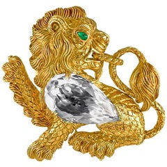 David Webb Rock Crystal and Emerald Lion Brooch