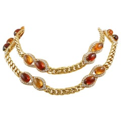 Bulgari Diamond and Cabochon Citrine Necklace