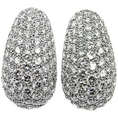 Van Cleef & Arpels Platinum Diamond Bombe Ear Clips