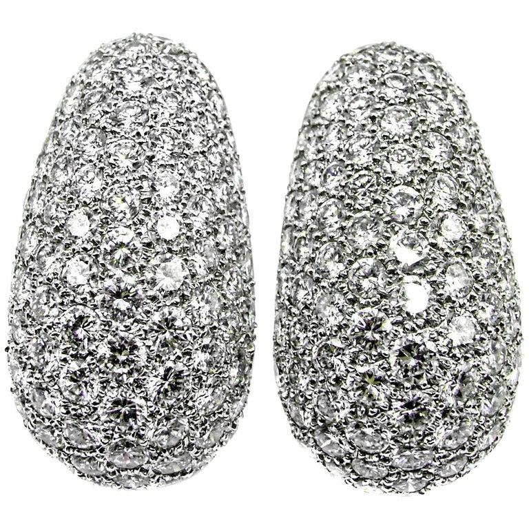Van Cleef & Arpels Platinum Diamond Bombe Ear Clips