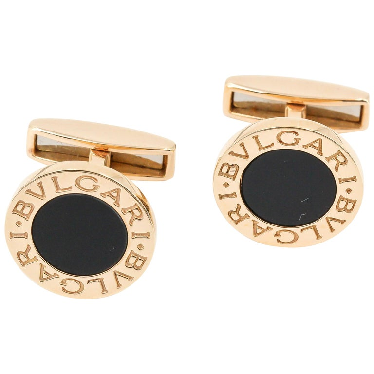 Bulgari Onyx and 18 Karat Gold Round Cufflinks For Sale