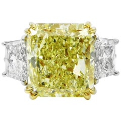 GIA Certified 7.53 Carat Fancy Yellow Radiant Cut Diamond VS2 Three-Stone Ring