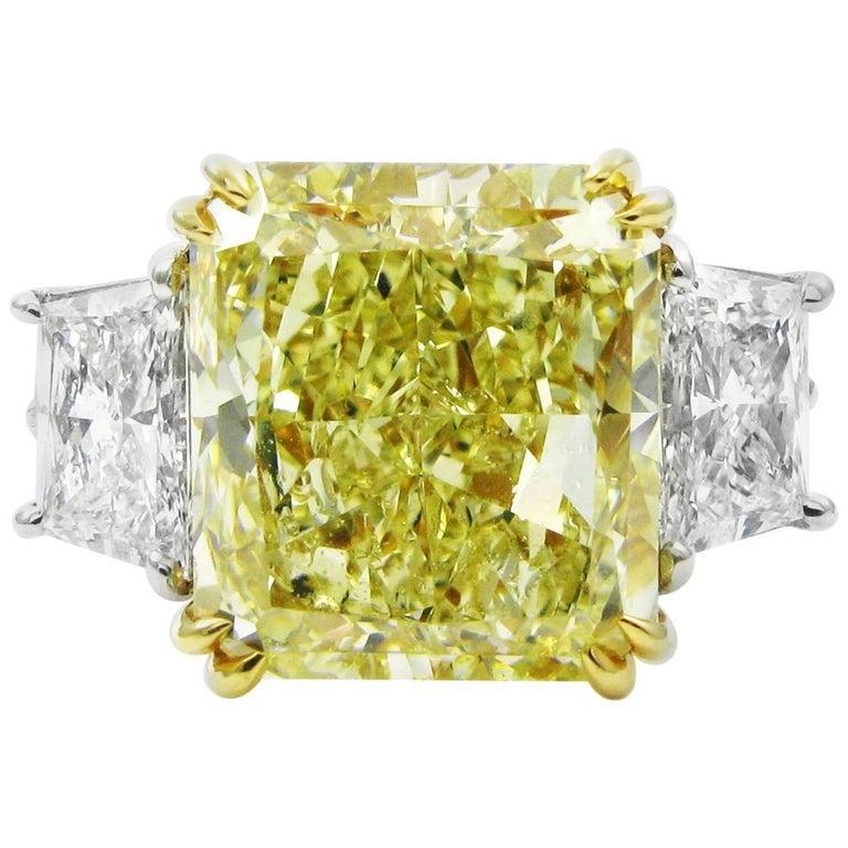 GIA Certified 7.53 Carat Fancy Yellow Radiant Cut Diamond VS2 Three-Stone Ring
