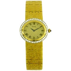 Piaget Yellow Gold Diamond Bezel Oval Dial Wristwatch