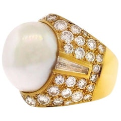 Large Baroque Pearl and Diamond Dome Ring