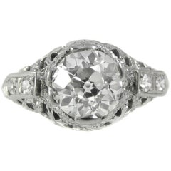Art Deco 1.28 Carat Old European Cut Diamond Ring
