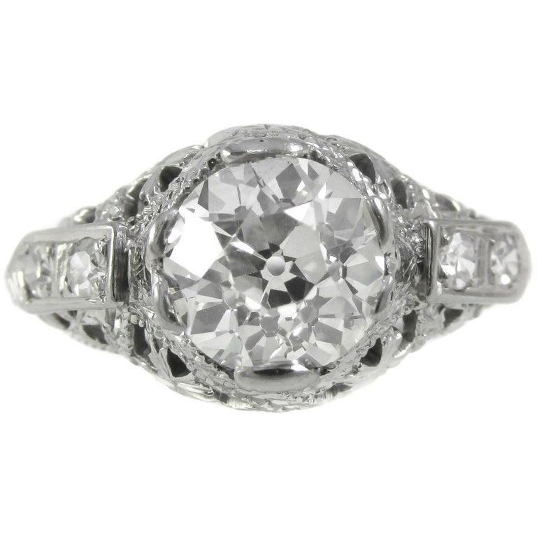 Art Deco 1.28 Carat Old European Cut Diamond Ring