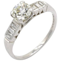 0.81 Carat Old European Cut Diamond Engagement Ring