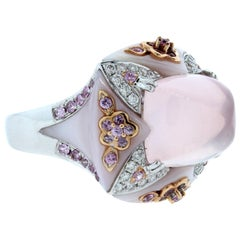 Pink Sapphire Quartz Diamond Gold Ring