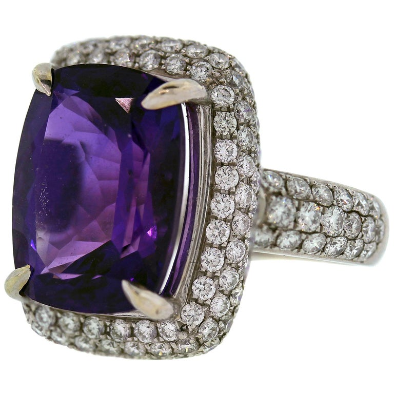 Amethyst White Gold and Diamond Cocktail Ring