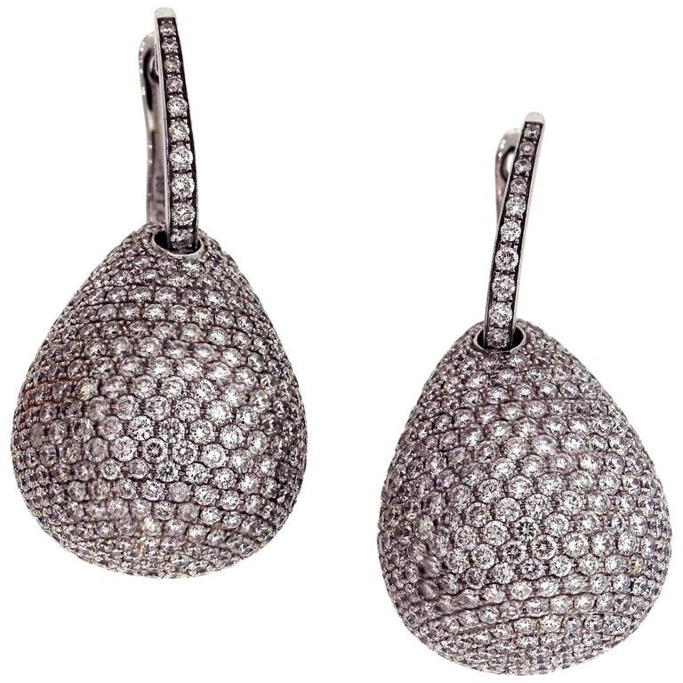 White Gold and Diamond Geometric Drop Earrings