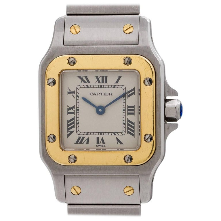 Cartier Ladies Yellow Gold Stainless Steel Santos Galbe Quartz Wristwatch
