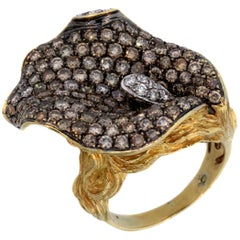 Ladies Head Ring with Gold and Brown White Diamonds