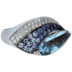 Aquamarine Blue Sapphire White Diamond Gold Ring