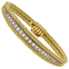 Textured Yellow Gold and Diamond Bracelet
