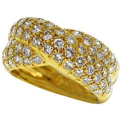 Van Cleef & Arpels Entrelacs Pave Diamond Ring 18 Karat Yellow Gold