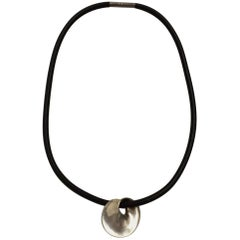 Georg Jensen Sterling Silver Pendant with Rubber Collar No. 376