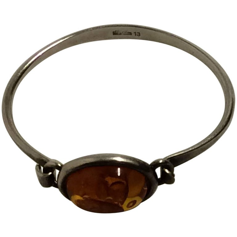Niels Erik From Sterling Silver Bracelet with Amber For Sale