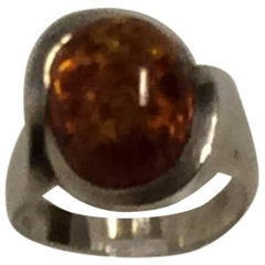 Niels Erik From Sterling Silver Ring with Amber