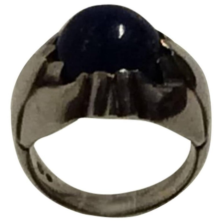 Georg Jensen Sterling Silver Ring with Lapis Lazuli from 1933-1944 No. 59