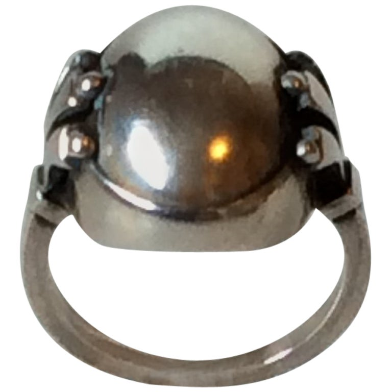 Georg Jensen Sterling Silver Ring with Silver Stone No. 51