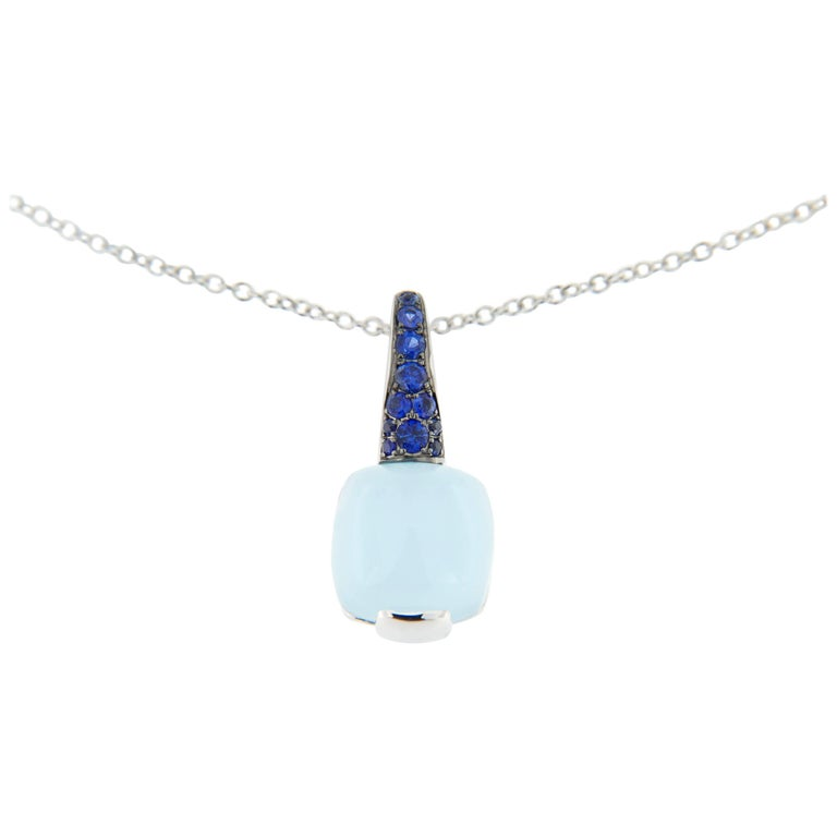 Jona Aquamarine Blue Sapphire White Gold Pendant Necklace