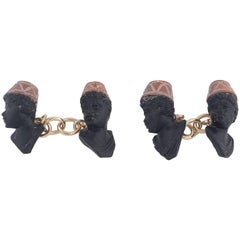 Blackamoor Lava and Gold Cufflinks