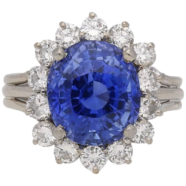 Vintage Ceylon Sapphire And Diamond Cluster Ring Circa
