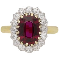 Edwardian Ruby and Diamond Coronet Cluster Ring, circa 1910