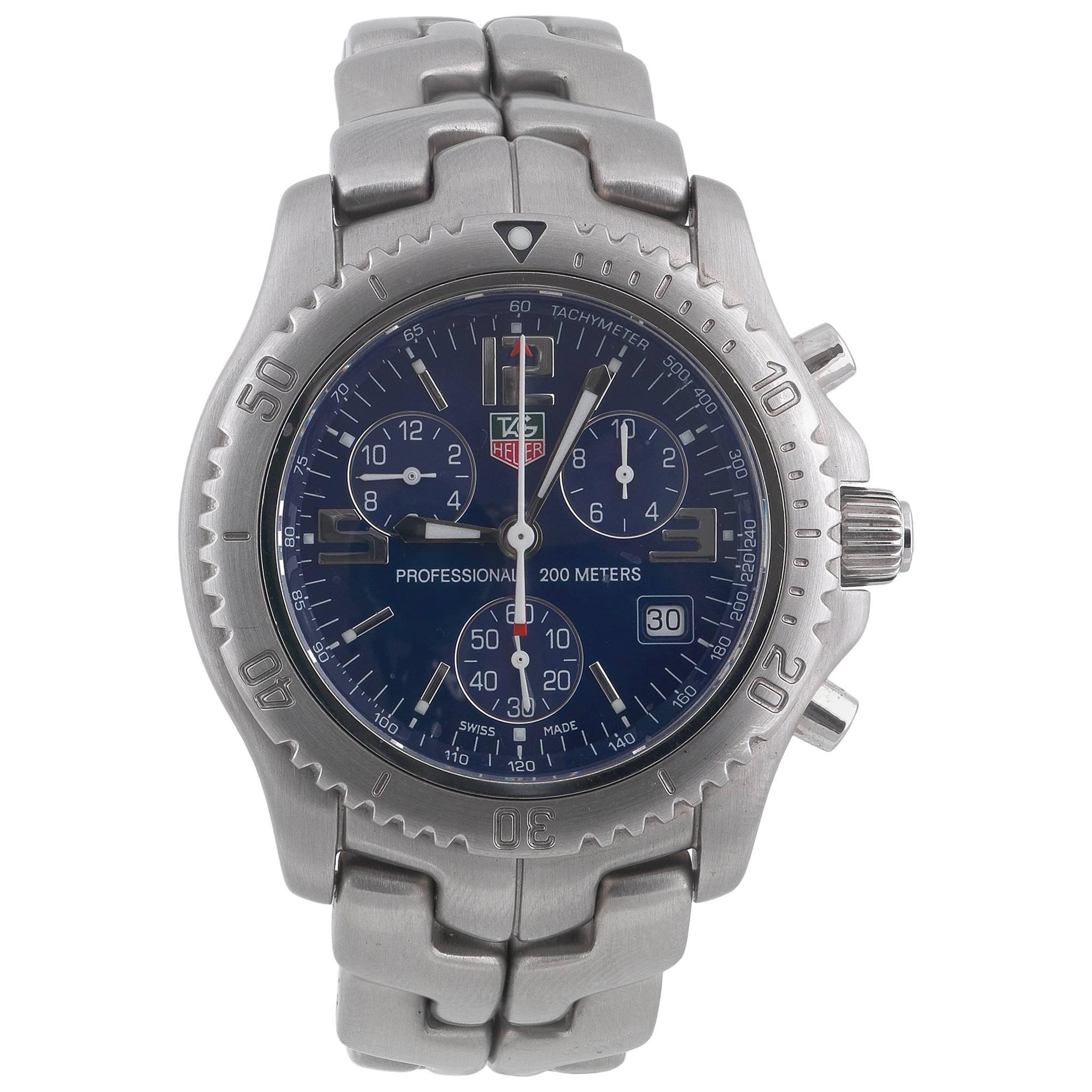 TAG Heuer Stainless Steel Chronograph Blue Dial Quartz Wristwatch
