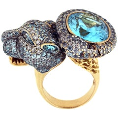 Zorab Aqumarine Shaded Sapphire Diamond Tiger 18K Yellow Gold Ring