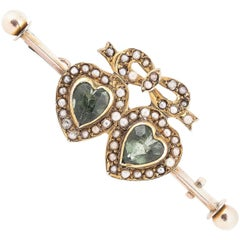 Late Victorian Gold Dress Pin with Two Heart Peridot Stones
