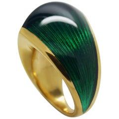 William Cheshire Translucent Green Cold Enamel Gold Vermeil Libertine Ring