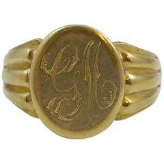 Edwardian Antique Gold Gents Signet Ring, Hallmarked London 1911, 18 Carat Gold