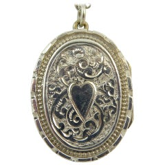 Antique Silver Locket, Silver Chain, circa Edwardian, Hand and Machine Engraved