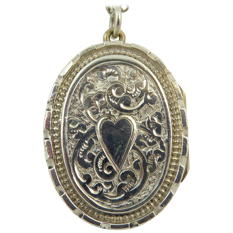 Antique Silver Locket, Silver Chain, circa Edwardian, Hand and Machine Engraved For Sale