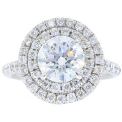 GIA Certified Double Halo Diamond Platinum Engagement Ring